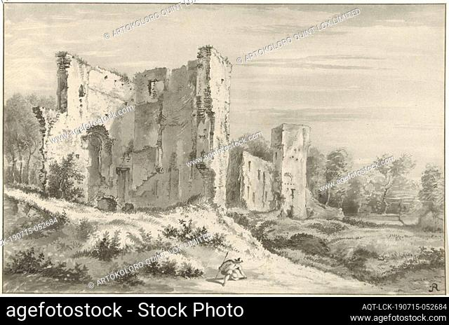 Ruin of the castle at Egmond aan den Hoef, Hilly landscape with ruin. In the foreground a kneeling walker, landscape with ruins, ruins of a building
