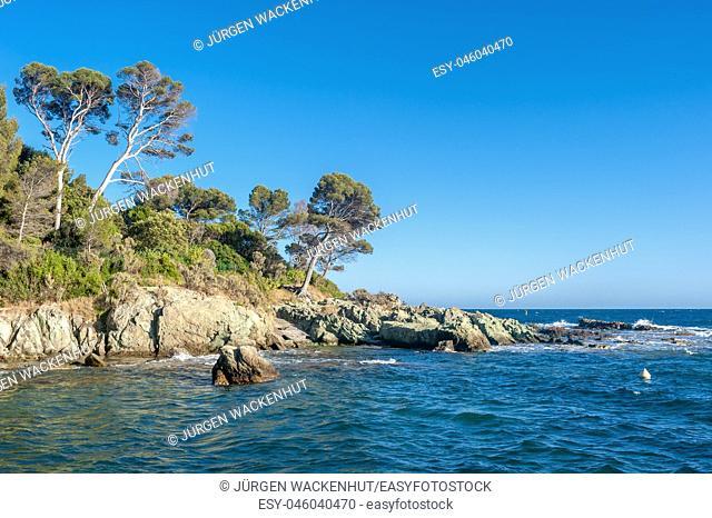 Coastal landscape at Cape Dramont, Saint-Raphael, Var, Provence-Alpes-Cote d`Azur, France, Europe