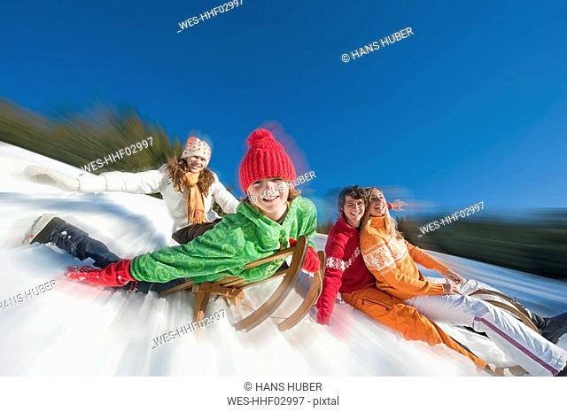 Austria, Salzburger Land, Altenmarkt, Family sledding