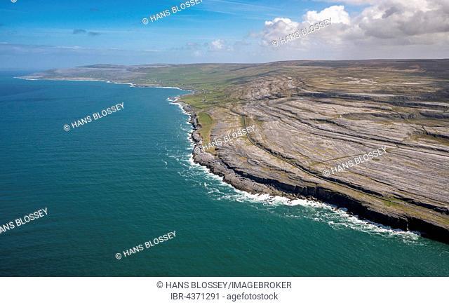 Rocky coast of Black Head, in the north of Doolin Burren, Murrogh, Formoyle, sandstone rock formations, County Clare, Ireland