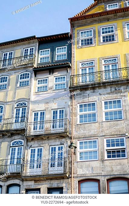 Buildings in the historic Ribeira district of Oporto, Portugal, Europe