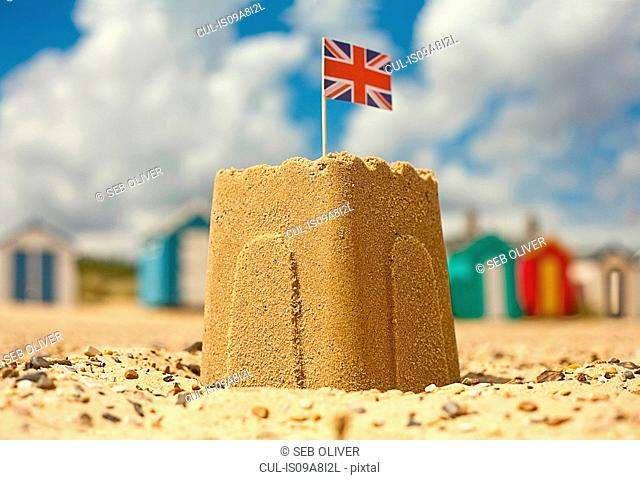 Sandcastle with british flag