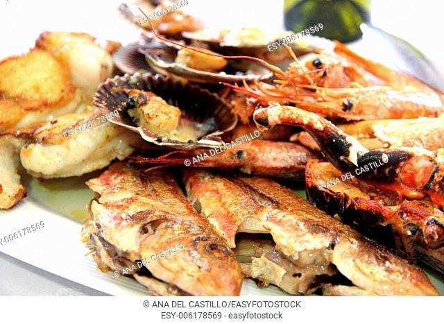 Mariscada seafood on plate Galicia Spain