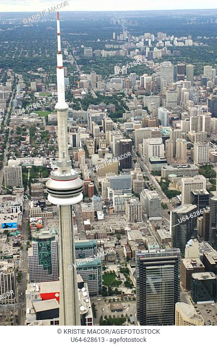 Arial view of the CN Tower and the city Toronto, Ontario