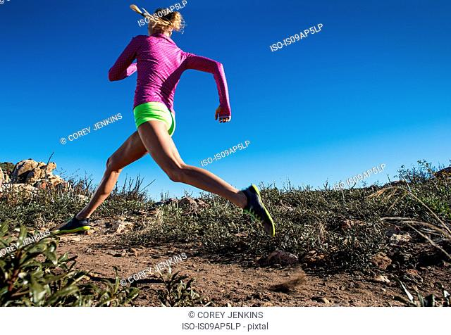 Young woman trail running on Pacific Crest Trail, Pine Valley, California, USA