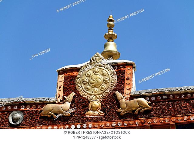 Dharma Wheel symbol at Likir Gompa, buddhist monastery, in Ladakh, India