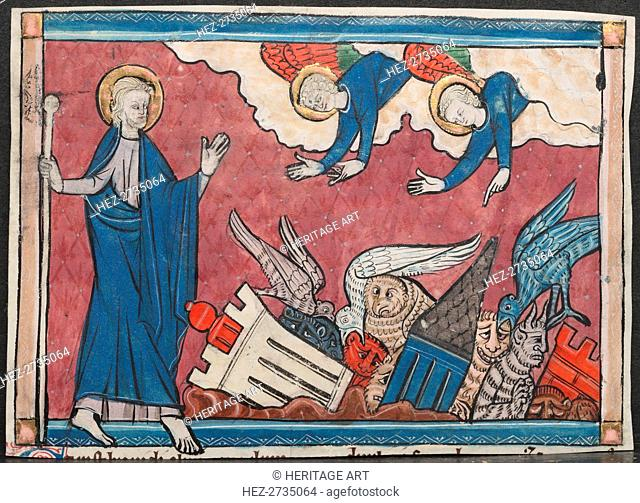 Miniature from a Manuscript of the Apocalypse: The Fall of Babylon, c. 1295. Creator: Unknown