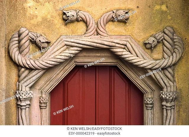 Detail of Castelo da Pena, Portuguese architecture in Romantic style, built in 1839. Sintra. Portugal