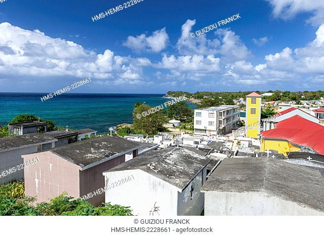 France, Guadeloupe (French West Indies), Grande Terre, Anse Bertrand, Saint Denis church and the cemetery with the oldest tombs in Guadeloupe