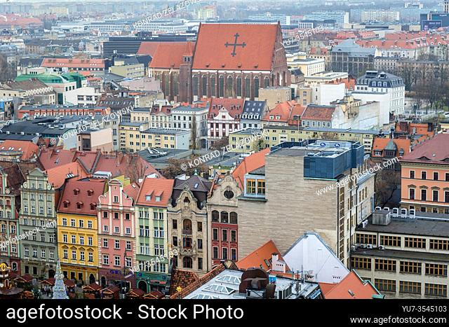 Aerial view from Garrison Church in Old Town of Wroclaw, Poland - view with Church of Saints Dorothea, Wenceslaus, and Stanislaus