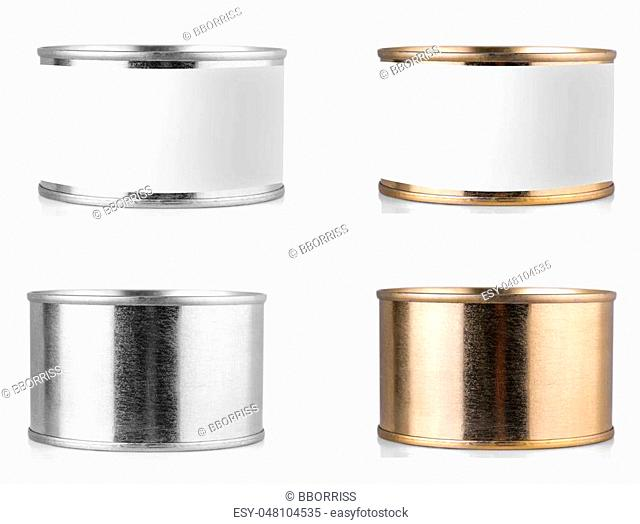 metal tin can on isolated white background