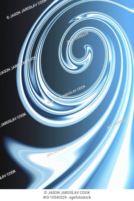 Abstract blue liquid spiral pattern