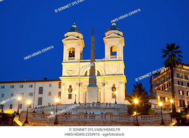 Italy, Lazio, Rome, historical center listed as World Heritage by UNESCO, the Spanish steps of Trinita dei Monti Church