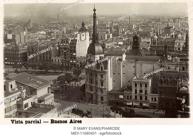 General rooftop view looking inland, with buildings including the Avenida Palace Hotel, Buenos Aires, Argentina, South America
