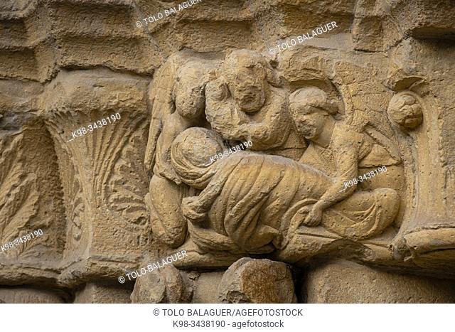 Dormición de la Virgen, puerta de Los Abuelos, Iglesia de San Juan, Laguardia , Alava, País Vasco, Spain
