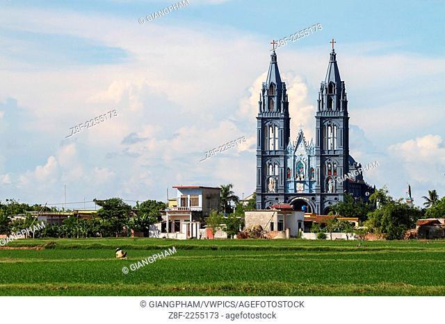 A Catholic church in small village in Thai Binh, Vietnam