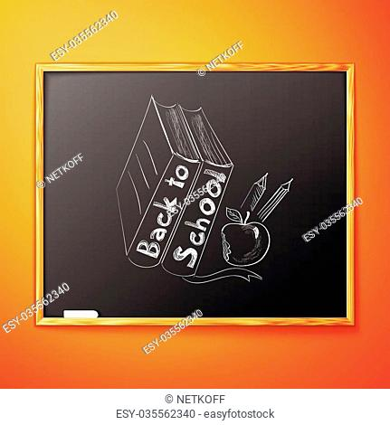 Back to school, written on blackboard with chalk, vector illustration