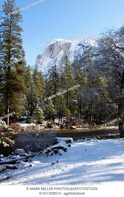 Half Dome after fresh snow, Yosemite National Park, California, USA