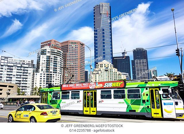 Australia, Victoria, Melbourne, Southbank, Princes Bridge, St. Kilda Road, tram, trolley, public transportation, traffic, city skyline, high rise buildings