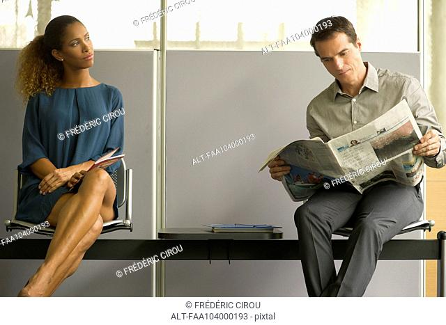 Professionals sitting in waiting room