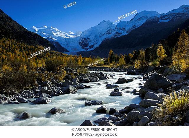 Piz Palue, 3905 m, Piz Bernina, 4049 m, Piz Morteratsch, 3751, Oberengadin, Graubuenden, Schweiz