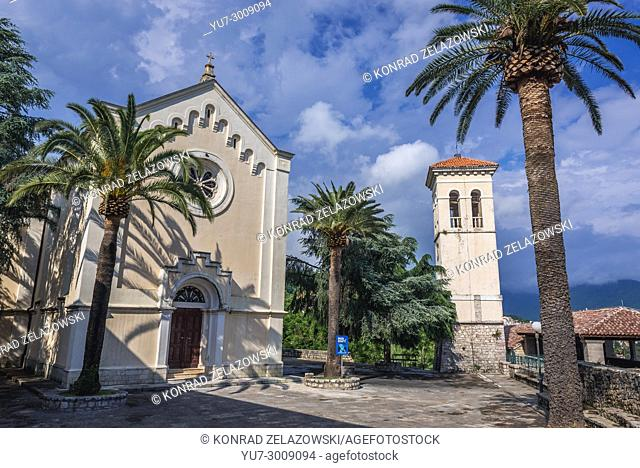 Catholic Church of Saint Jerome and bell tower on Mica Pavlovica Square on the Old Town of Herceg Novi city on the Adriatic Sea coast in Montenegro
