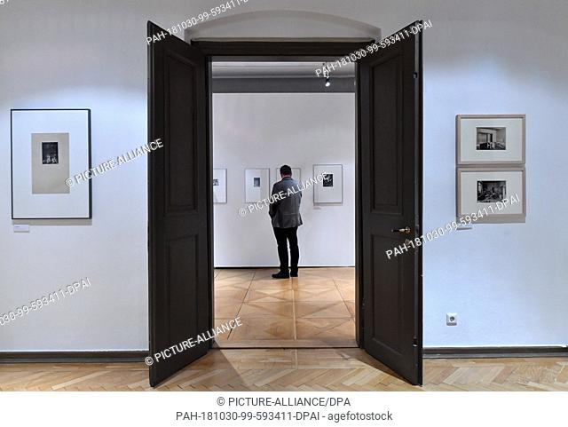 "30 October 2018, Thuringia, Gera: Holger Peter Saupe, head of the art collection Gera, considers the photographs in the special exhibition """"."