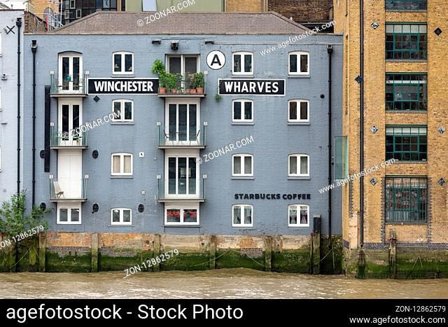 LONDON, ENGLAND - JUNE 08, 2017: Renovated old buildings at South bank of river Thames in London, England