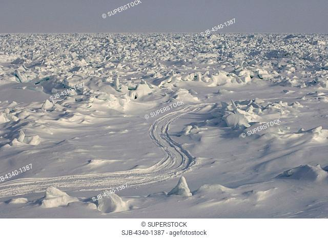 Snow Machine Tracks through the Pack Ice Over the Chukchi Sea