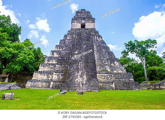 The archaeological site of the pre-Columbian Maya civilization in Tikal National Park , Guatemala. The park is UNESCO World Heritage Site since 1979