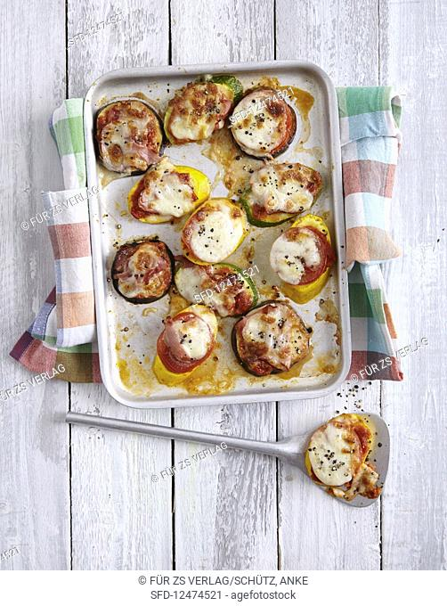 Mini vegetable pizza (low carb)