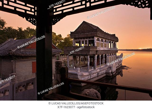 Summer Palace, in Kunming Lake  The Marble Boat,Beijing, China