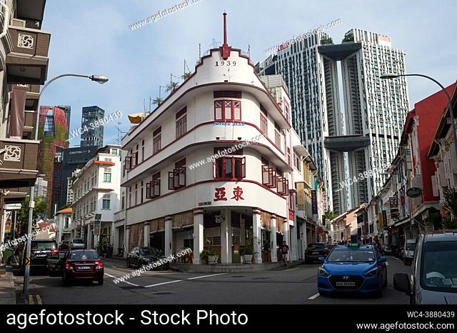 Singapore, Republic of Singapore, Asia - Cityscape with historic shophouses, the Potato Head restaurant inside an art deco building and the residential...