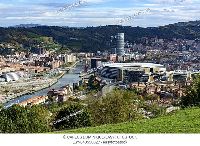 Bilbao view from Covetas Mount with San Mames football stadium Kobetas