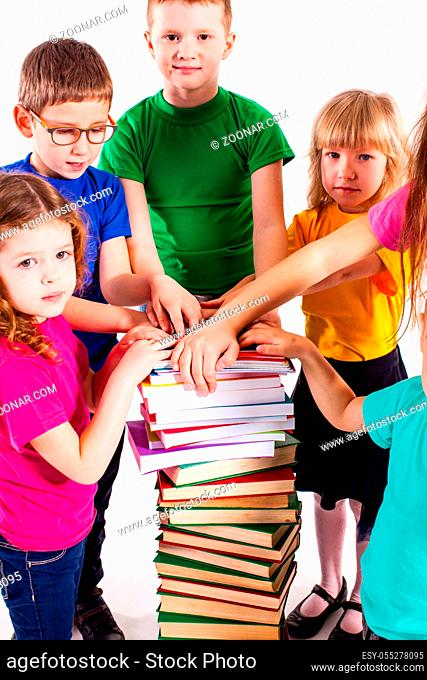 The kids with books. Education and knows concept