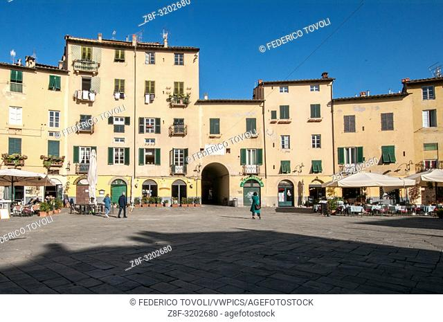 Piazza Anfiteatro ( Amphytheater circus ) is a special city square built on a roman amphyteather. Lucca, Italy