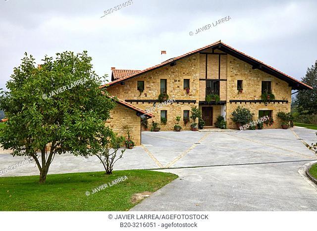 Typical Basque farmhouse, Esteutz, Hondarribia, Gipuzkoa, Spain
