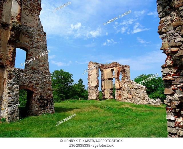 Castle ruins Bodzentyn Swietokrzyskie Mountains Poland