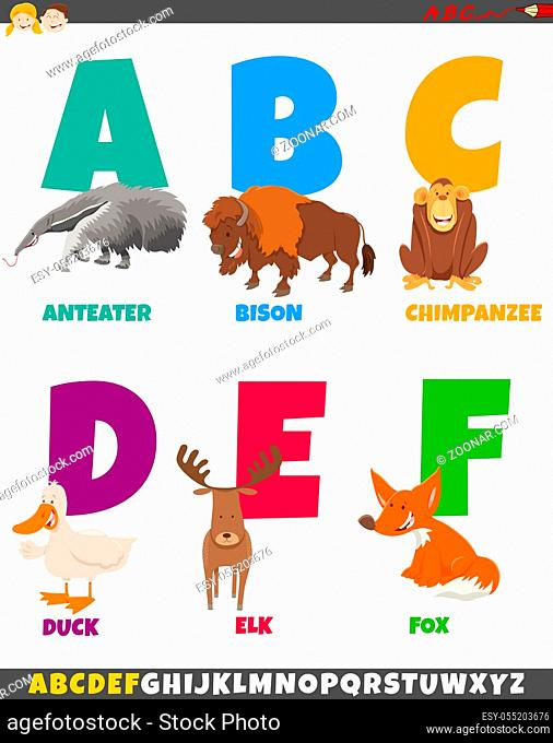 Cartoon Illustration of Colorful Alphabet Set from Letter A to F with Funny Animal Characters
