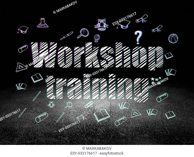 Education concept: Glowing text Workshop Training, Hand Drawn Education Icons in grunge dark room with Dirty Floor, black background, 3d render