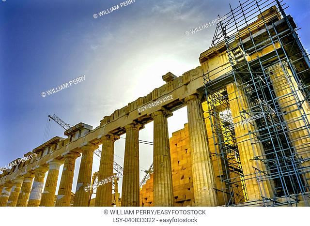 Sun Morning Parthenon Acropolis Athens Greece. Temple to Athena on tAcropolis. Created 438 BC