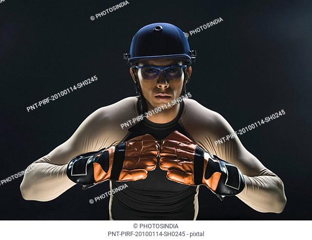 Close-up of a cricket wicket keeper