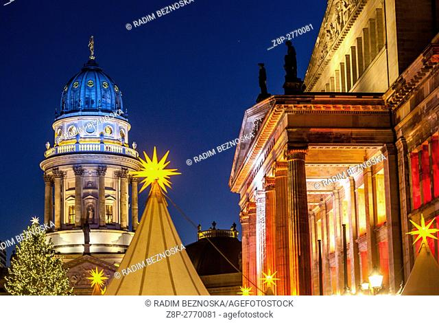 Germany, Berlin, Christmas atmosphere and sales stands at Gendarmenmarkt