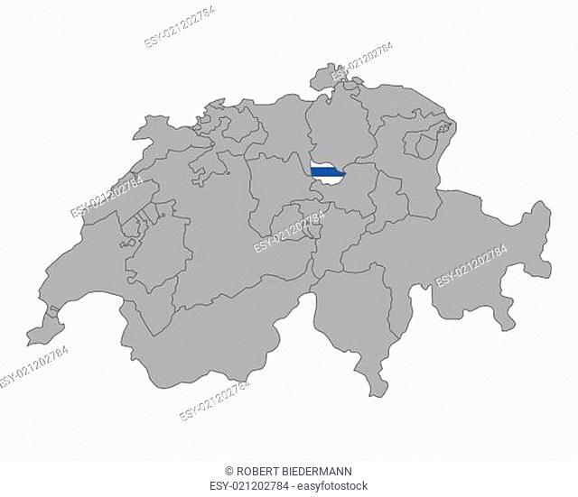 Karte der Schweiz mit Fahne von Zug