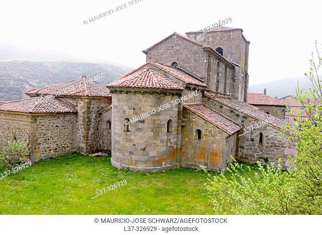 Romanesque collegiate church of Santa María built 12th century. Puerto de Pajares, León province. Spain