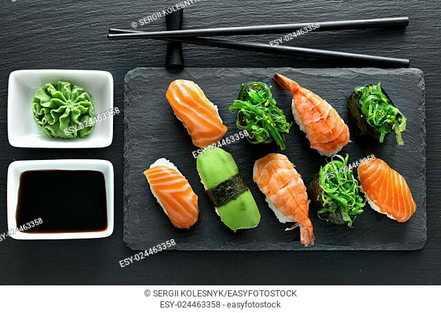 Slate plate with sushi set and wasabi