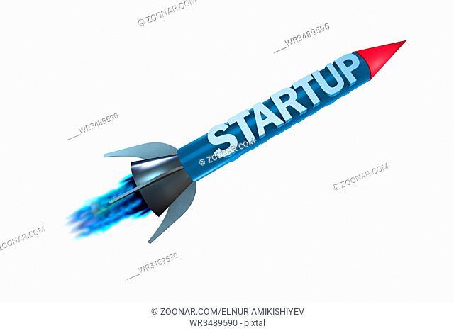 Rocket in business start-up concept - 3d rendering