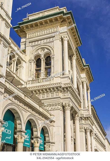 Facade of the Galleria Vittorio Emanuele II, Cathedral Square, Piazza del Duomo, Milan, Italy, Europe