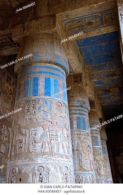 Medinet Habu, Luxor, Egypt, Djamet, mortuary temple of King Ramses III, ( XX dyn. 1185 -1078 B.C) – Colorful colonnades