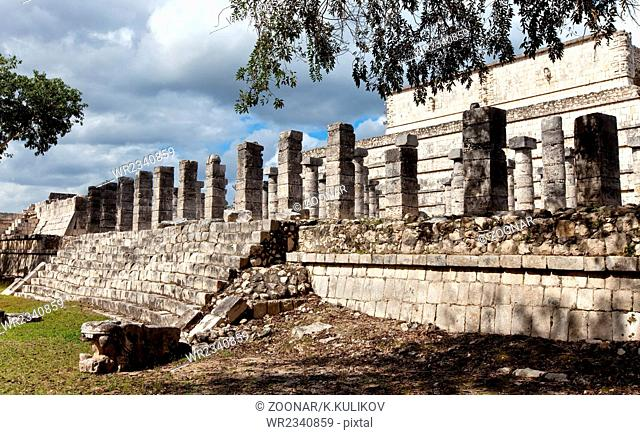 Thousand Pillars - Columns at Chichen Itza, Mexic